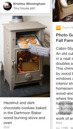 Hazelnut and dark chocolate cookies baked in the Dartmoor Baker wood burning stove and oven wood house DIY Computer Desk Ideas You Can Build Now in 2019 Tiny Wood Stove, Small Wood Burning Stove, Diy Computer Desk, New Stove, Stove Oven, Wood Stove Cooking, Stove Fireplace, Fireplace Hearth, Into The Woods