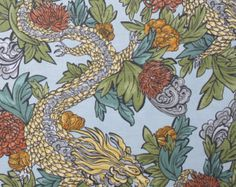 Ming Dragon Asian chinoiserie oriental pillow by VivianandB