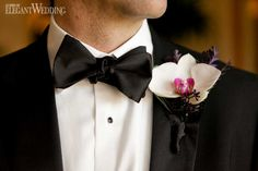White, pink and purple orchid boutonniere! OASIS OF ORCHIDS www.elegantwedding.ca