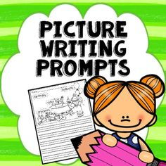 50 picture writing prompts with labeled pictures that can be put in a writing center or using as a weekly writing prompt, giving students with ideas for writing.
