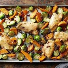 Maple-Roasted Chicken Thighs with Sweet Potato Wedges and Brussels Sprouts - EatingWell.com