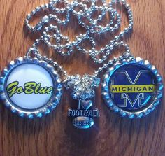 Michigan bottle cap necklace by LegacySportsJewelry on Etsy