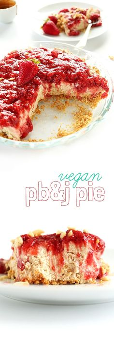 AMAZING, fluffy No Bake PB&J Pie! Graham cracker crust, date-sweetened peanut butter filling, 3-ingredient jam compote on top! #vegan #dessert #peanutbutter