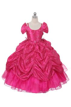 Your girl will sparkle and shine in this pageant dress from The Rain Kids. This taffeta dress is decorated with sequins throughout and features off-shoulder sleeves and pickup skirt. The adjustable co                                                                                                                                                      More
