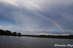 Rainbow on the river. Rainforest. Cuyabeno. Ecuador.