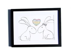 Fineliner – Drawing handmade 20x30cm: Bunnies and heart – a unique product by ARTandCAT on DaWanda