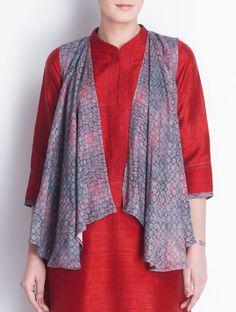 Buy Indigo Red Ajrakh Printed Matka Silk Shrug Apparel Jackets Joys Hand Block in Chanderi & Online at Jaypore.com