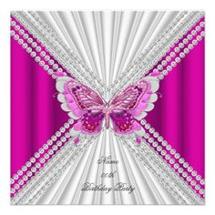Pink White Birthday Party Diamond Butterfly Custom Invite