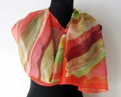 Orange green sandy hand painted silk scarf for by TiiuHandCraft