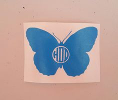 Monogrammed butterfly decal
