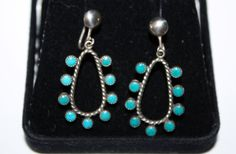 Vintage Sterling Earrings Zuni Petit Point Dangle by patwatty, $35.00