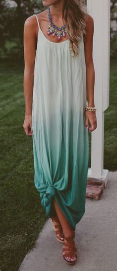 Adorable Boho Casual Outfits to Look Cool (46) ️pretty shades of green ombré dress!