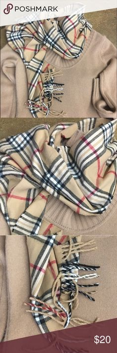 Beautiful PLAID BEIGE scarf...... Fringe tip, beige plaid scarf that's vet fashion friend for the winter month. Warm and snugly scarf Accessories Scarves & Wraps