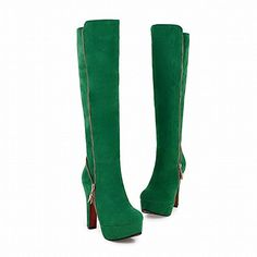Mee Shoes Damen Reißverschluss runde Plateau langschaft high heels Stiefel: Amazon.de: Schuhe & Handtaschen
