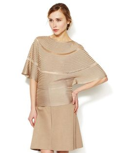 Valentino Ribbed Flutter Sleeve Sweater