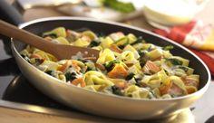Knackige Pinienkerne, saftiges Lachsfilet, cremigen Spinat, würzige Zwiebeln und etwas Schlagsahne brauchst du für die Bandnudeln mit Lachs und Blattspinat. Probiere es jetzt aus!