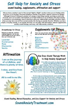 Natural remedies for stress and anxiety. Supplements for stress, sound therapy, aromatherapy and affirmation.