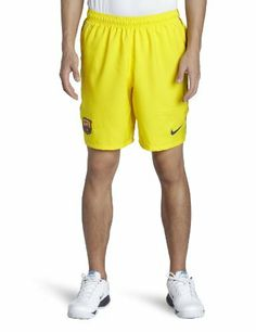 Barcelona Away Football Shorts 2012/13 by Nike. $48.50. These are the new stylish Barcelona Away Football Shorts that the squad will use for the 2012-13 season. The shorts have a fresh new design and are sure to make a design statement. They are yellow in colour with red and blue trims on the sides of the shorts giving reference to the Catalan club colours. The new shorts are made out of 100% polyester and feature Nike's Dri-Fit technology which is designed to get rid of moi...