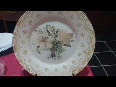 Plato decorado con blondaa y decoupage - YouTube Decoupage Plates, Doilies, Decorative Plates, Tableware, Diy, Home Decor, Youtube, Diy And Crafts, Dish Towels