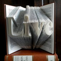 Folded Book Art - LIVE - Hand crafted - Home decoration - 4 letters - Word - Original gift - House ornament