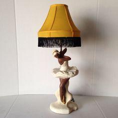 Mid century ballerina chalkware lamp