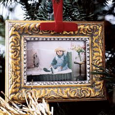 """DIY: Turn family photos into tree decorations - consider using vintage Christmas images - look for collage sheets on Etsy sized to fit picture frames (4""""x6"""" or similar size)"""