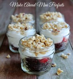 Make Ahead Mini Parfaits. These are perfect for traveling, lunches, or on the snacks. ahead snacks, Make Ahead Mini Parfaits Parfait Recipes, Snack Recipes, Brunch Recipes, Paleo Recipes, Dessert Recipes, Mousse, Yogurt And Granola, Yogurt Cups, Greek Yogurt