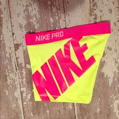 "Nike Pro Shorts Dri-Fit Size Small NWT! 3"" Logo NWT Nike Pro Compression Shorts, Size Small. Hot Pink / Volt with Large Nike Logo. Nike Shorts"