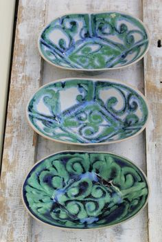 folded oval bowls in greens blues and cream by lauriegceramics, $20.00