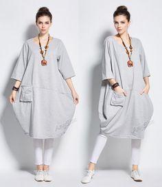 Anysize Lantern style cotton dress with deep heel pocket Winter Spring long dress plus size dress plus size clothing Y231