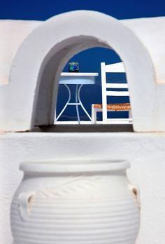 """Have a seat in Firostefani - Santorini island"" by Hercules Milas | Redbubble Chiffon Shirt, Chiffon Tops, Santorini Island, Framed Prints, Canvas Prints, Hercules, Long Hoodie, Wood Print, Decorative Throw Pillows"