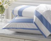 Percale Border Bedding, Flat Sheet, Full/Queen, Blue