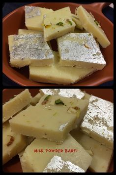 Milk Powder Barfi also known as milk barfi, milk borfi or milk burfi, is a dense milk based sweet confectionery from the Indian subcontinent, a type of mithai. Indian Sweets, Powdered Milk, Confectionery, Feta, Deserts, Good Food, Cooking Recipes, Cheese, Homemade