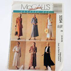 Uncut McCalls 3254 Shirt Dress Sewing Pattern Size E 14-16-18