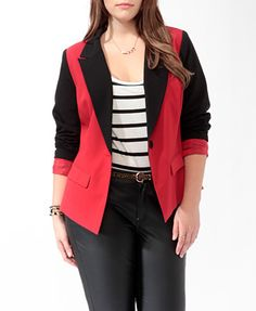 Love the red and black.    Contrast Cutaway Blazer | FOREVER 21 - 2000049292