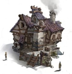 ArtStation - :D, lee yongwoong 3d Fantasy, Fantasy Landscape, Medieval Fantasy, Fantasy World, Gfx Design, Building Concept, Illustration Art, Illustrations, Prop Design