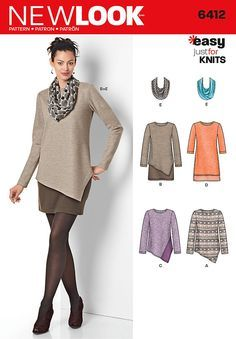 Purchase New Look 6412 Misses' Tunics and Dresses and read its pattern reviews. Find other Dresses, sewing patterns...