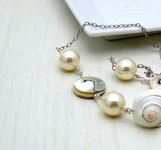 White Shell Pearl Sterling Silver Necklace  by cooljewelrydesign, $139.00