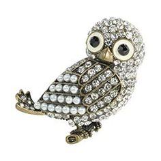 Pier 1 Jeweled Owl Brooch