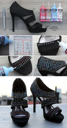 whoda thought?!? Puffy paint to create beaded heels! #ispydiy