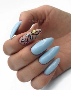 Blue nail art Blue nails with a picture Bright fashion nails Long nails Manicure 2018 Nails ideas 2018 Plain nails Summer nails to the sea Best Nail Art Designs, Acrylic Nail Designs, Acrylic Nails, Beautiful Nail Art, Gorgeous Nails, Spring Nails, Summer Nails, Long Nails, My Nails