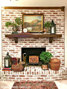 Best Free of Charge whitewash Brick Fireplace Concepts Fireplace Makeover Tutorial Decor, Fireplace Remodel, White Wash Brick, White Wash Brick Fireplace, Brick Exterior House, Farmhouse Fireplace, Fireplace Decor, Red Brick Fireplaces, Fireplace