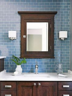Bathroom Remodeling Ideas...easy updo, just use a darker stain & replace hardware