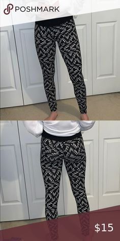 New Dark Multi Color Aztec Tribal Ethnic Ombre Stripe Leggings Tight Pants USA