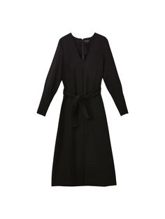 Dress with a tied detail and pleated cuffs. Features a tailored fit, V-neck, back zip and hook and eye clasp for fastening, 7/8 length sleeves and front vent at the hem. The garment length for size 38 is 106.6 cm. Zip, Hemline, Neckline, Running, Zippers, Flat, Fall Winter, Gown