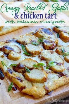 Creamy Roasted Garlic and Chicken Tart with Balsamic Vinaigrette, another simple recipe using crescent roll dough! This one looks super fancy though, great for appetizers, dinner party or weeknight meal!