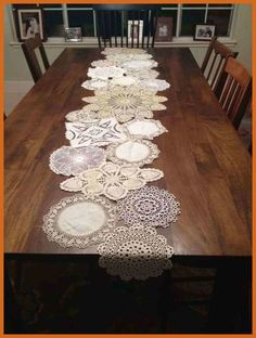 Dining Room With Rectangular Dining Table And Crochet Table Runner : Instructions To Crochet A Table RunnerCrochet Doily Table Runner, made using 24 assorted size doilies stitched togetherVintage Doily Runner Wedding Table Decoration With Handcrochet Doilies Crafts, Lace Doilies, Crochet Doilies, Crochet Crafts, Crochet Ideas, Doily Art, Diy And Crafts, Arts And Crafts, Creative Crafts