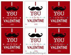 Free Printable Mustache Themed Valentine's