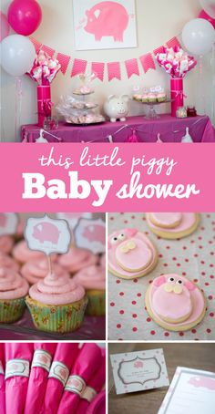 This Little Piggy Baby Shower - A beautiful pig theme baby shower. And what better theme than to match the nursery rhyme, This Little Piggy went to the Market? Source by Best Kadın Pig Baby Shower, Shower Bebe, Baby Girl Shower Themes, Baby Shower Gender Reveal, Baby Shower Decorations, Baby Gender, Shower Party, Baby Shower Parties, Baby Shower Gifts