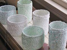 Epsom Salt, Mod Podge, Krylon, 3 coats to seal.  Pretty simple project fun jars! along with other jar ideas.
